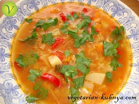 Суп с рисом и томатами (харчо)