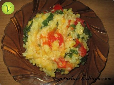 Рис с горохом и шпинатом