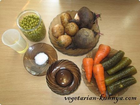 Ингредиенты для винегрета из запеченных овощей
