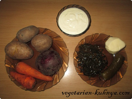 Ингредиенты для вегетарианской шубы
