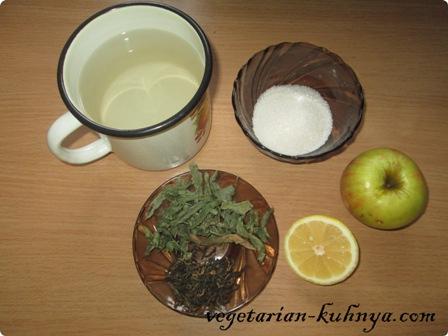 Ингредиенты для чая с мятой и яблоками