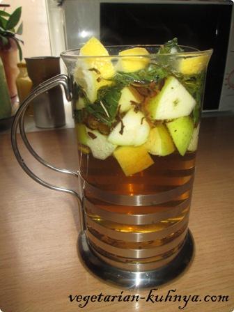Чай с мятой и яблоками