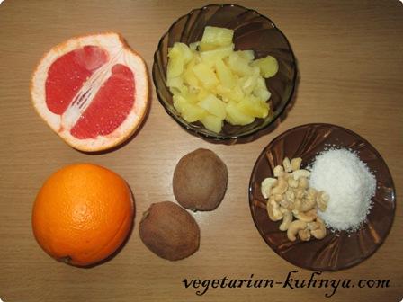 Ингредиенты для фруктового салата из цитрусовых