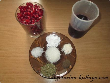 Ингредиенты для гранатового сока
