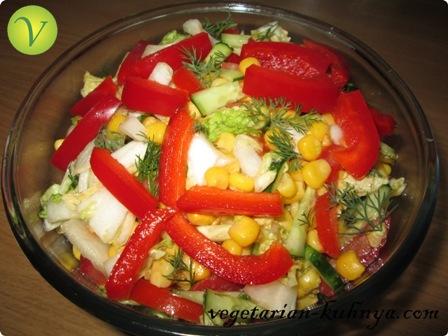Заправить салатик маслом или майонезом