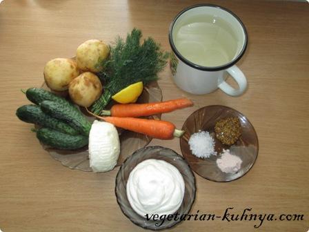 Ингредиенты для вегетаринаской окрошки