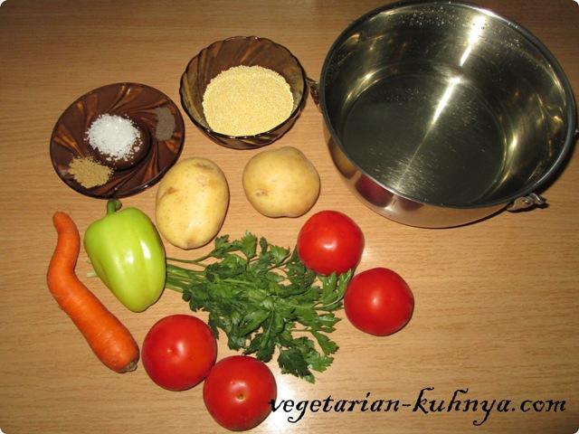 Ингредиенты для супа с пшеном