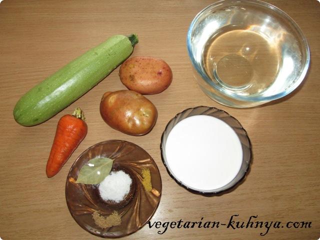 Ингредиенты для быстрого овощного супа