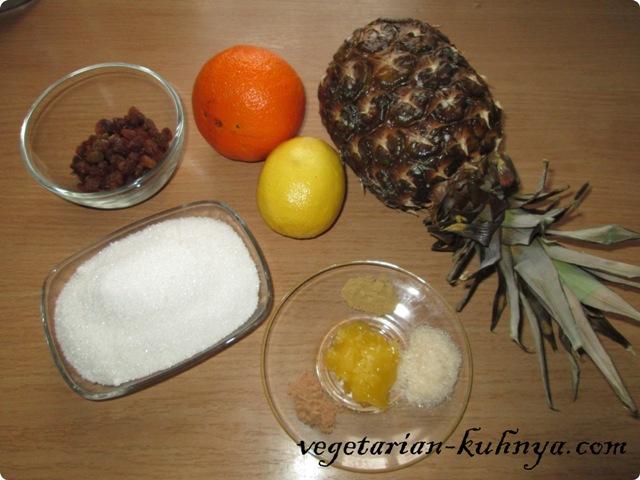 Ингредиенты для жареных ананасов