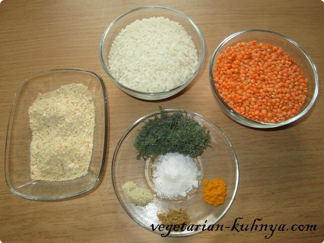 Ингредиенты для чечевично-рисовых котлет