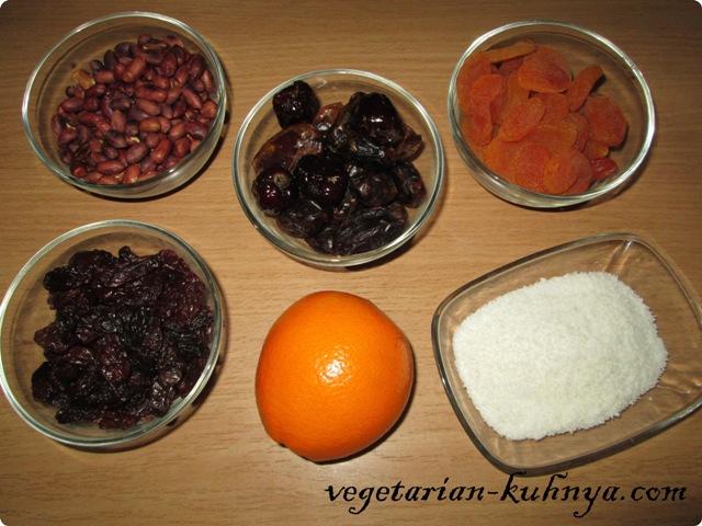 Ингредиенты для шариков из сухофруктов
