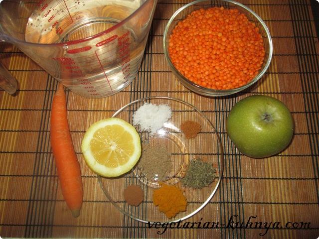 Ингредиенты для тушенной чечевицы