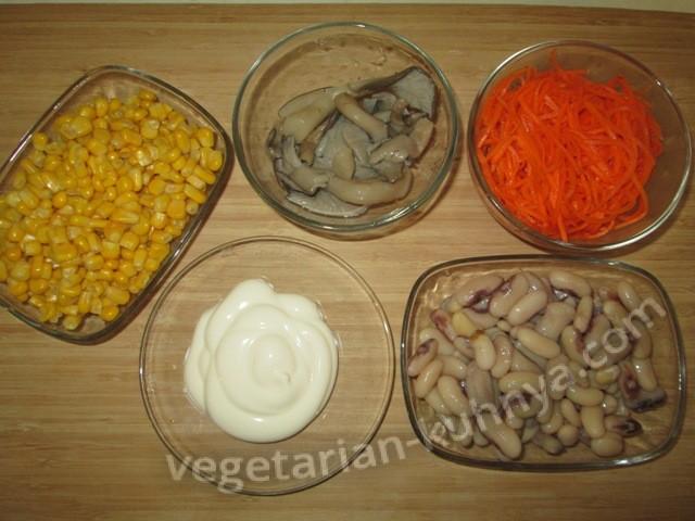 Ингредиенты для салата с морковью